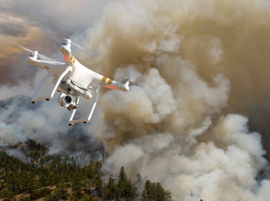 Drone operating around bushfires